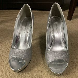 Silver open toed pumps